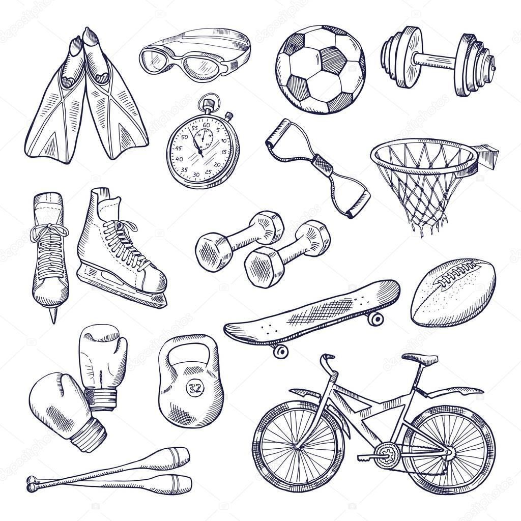 шаблона, рисунок спортивные принадлежности карандашом очень