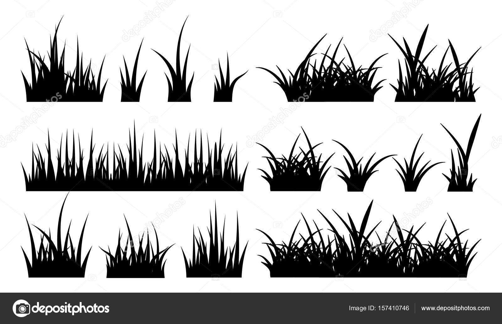 草の白黒イラストですベクター シルエット ストックベクター