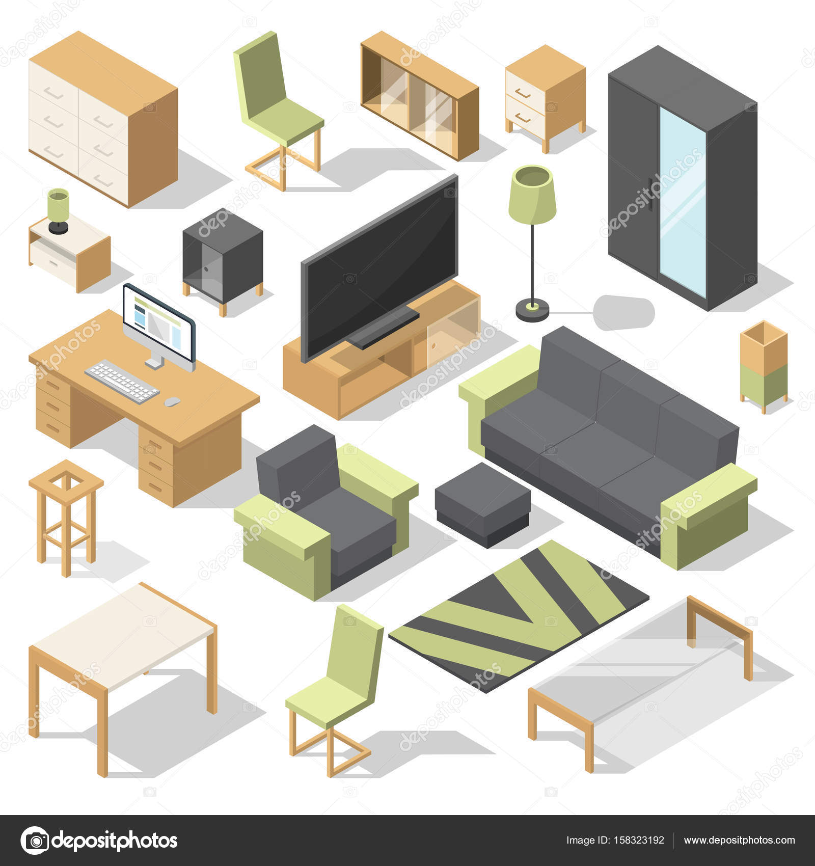 isometric office furniture vector collection. Furniture Set For Bed Room. Vector Isometric Elements Modern Home. Collection Of Home And Office Illustration \u2014 By ONYXprj