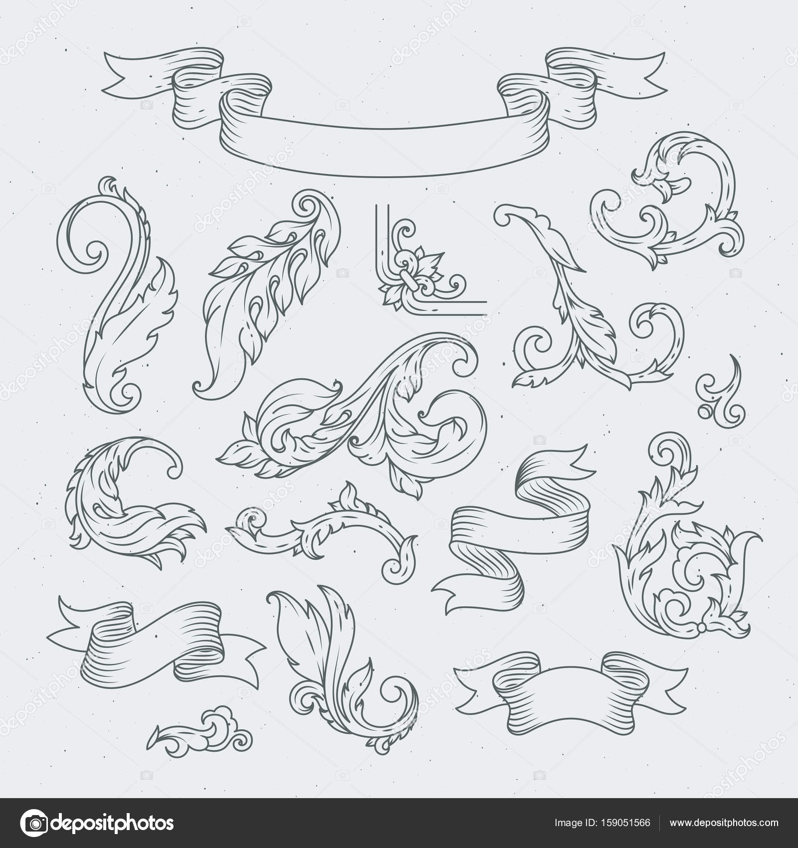 decorative elements in baroque style victorian ornament acanthus leaves stock vector c onyxprj 159051566 https depositphotos com 159051566 stock illustration decorative elements in baroque style html