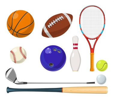 Vector sports equipment in cartoon style. Balls, rackets, golf sticks and other vector illustrations