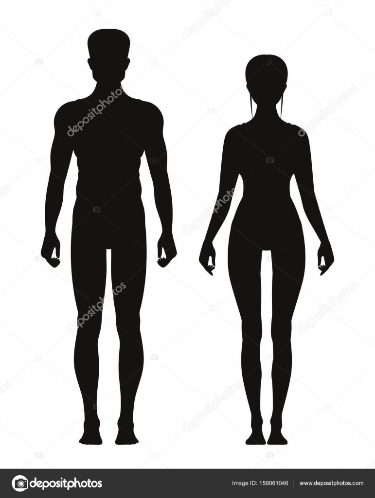 Silhouette of sporty male and female standing front view. Vector ...