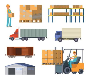 Warehouse and logistics processes. Worker with packages. Different specific cars