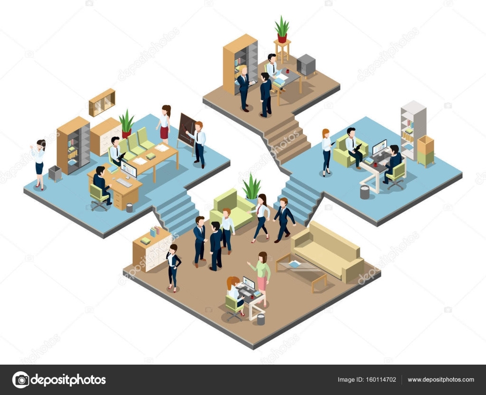 Centro de negocios con personas en el trabajo en oficinas for Centro de trabajo oficina