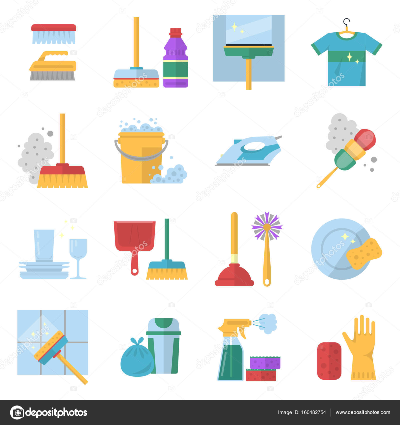 Cleaning service symbols different colored tools in cartoon style cleaning service symbols different colored tools in cartoon style brush and soap stock biocorpaavc