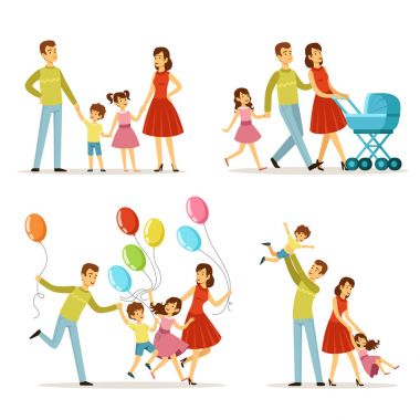 Big family. Father, pregnant mother, little baby. Vector character set. Happy peoples