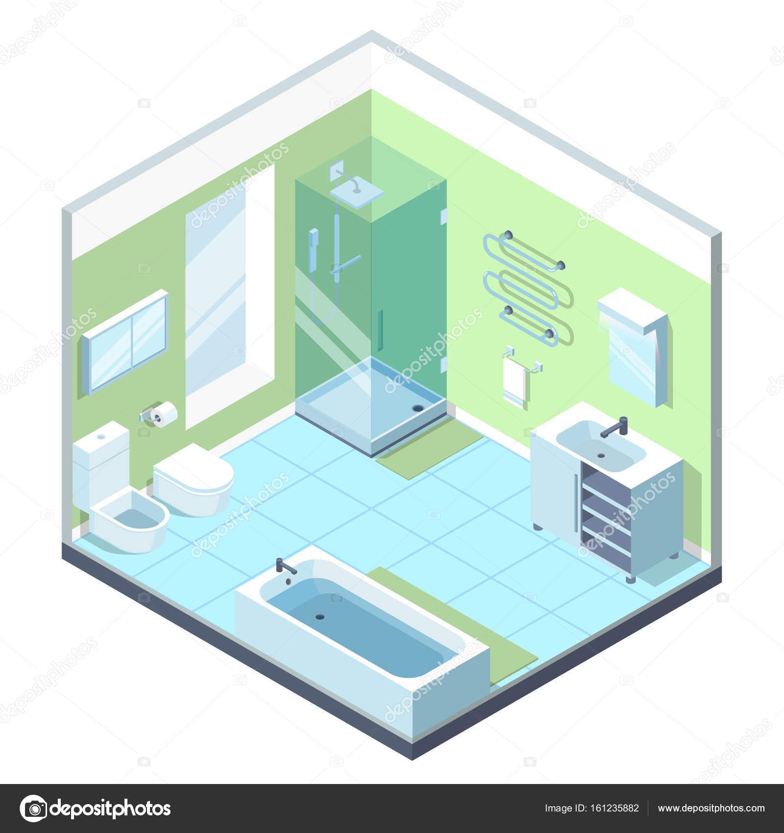 Interior de cuarto de baño con muebles diferentes elementos ...