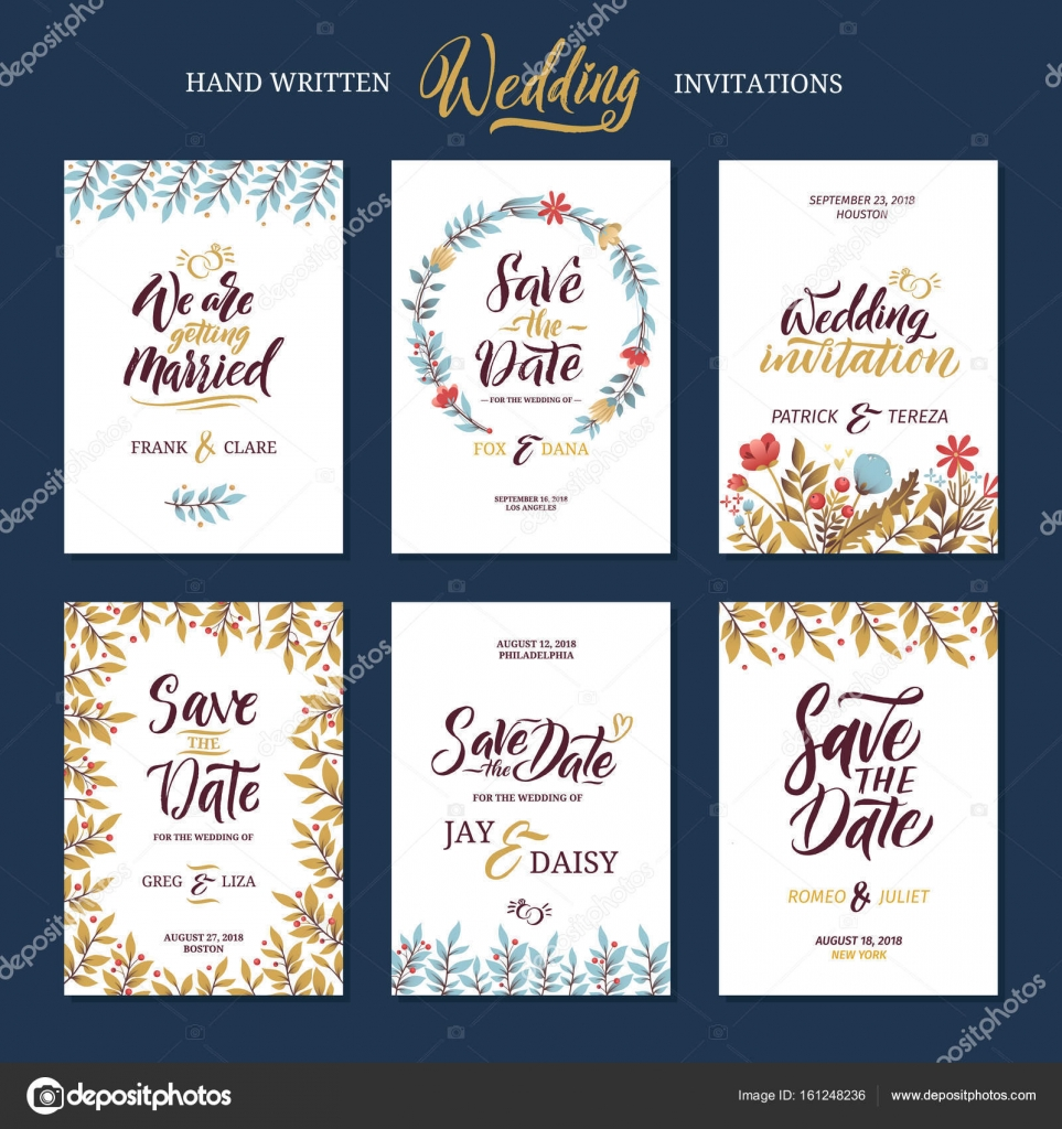 Invitation Cards For Wedding With Calligraphy Words Save