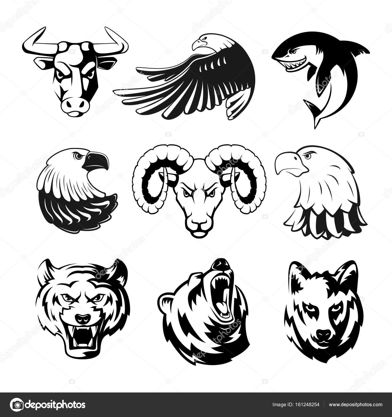 ロゴやスポーツの記号のための動物の頭。グリズリー、クマ、ワシ