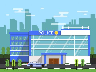 Police or security department. Exterior of municipal building. Vector illustration in flat style