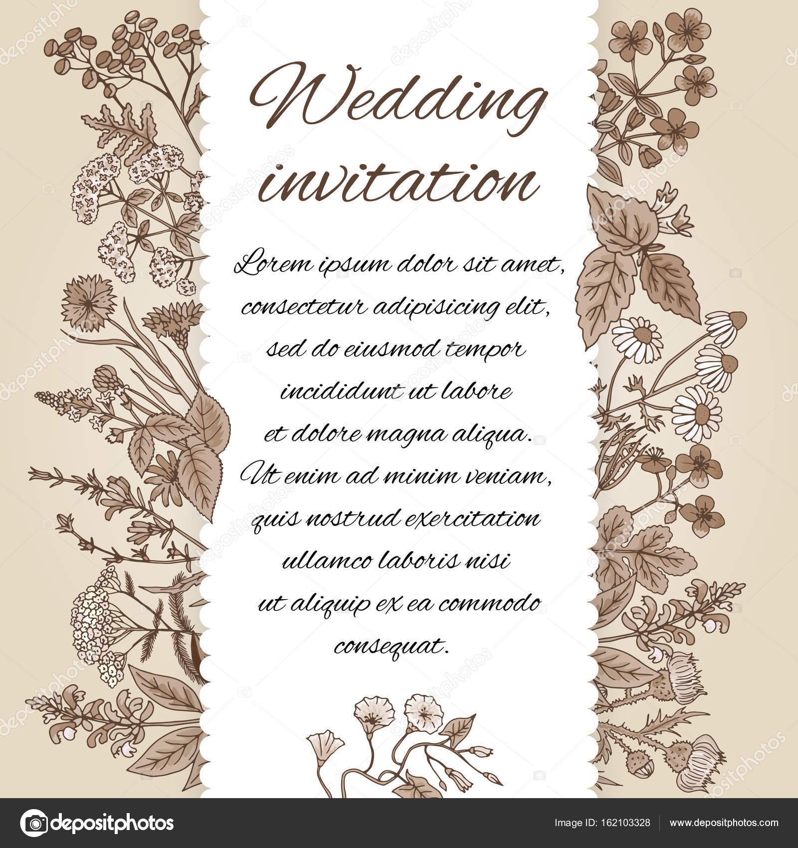 893c4a4bcc7f68 Шаблон весільні запрошення у вінтажному стилі. Немає місця для тексту.  Запрошення прикраси з боку звернено трави. Запрошення на весілля квітка.