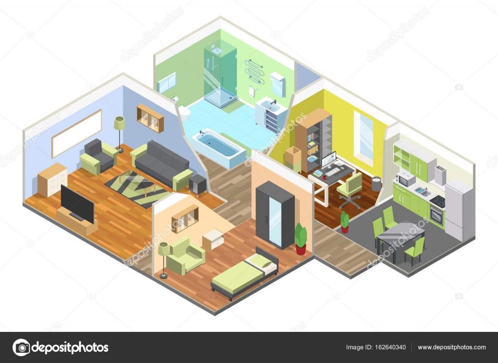 Intérieur 3D d\u0027une maison moderne avec cuisine, salon, salle