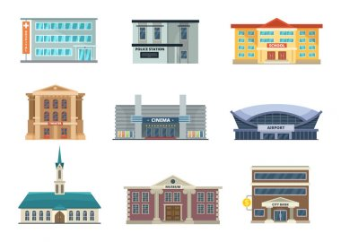 Different municipal buildings. Police station, school, hospital. Bank, business center and others. Vector pictures in cartoon style