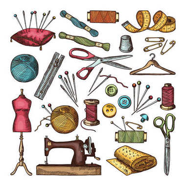 Colored pictures of different tools for needlework or sewing workshop