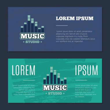 Vector vintage flyers with music sound record studio logo, badge, emblem with sound waves on grunge texture