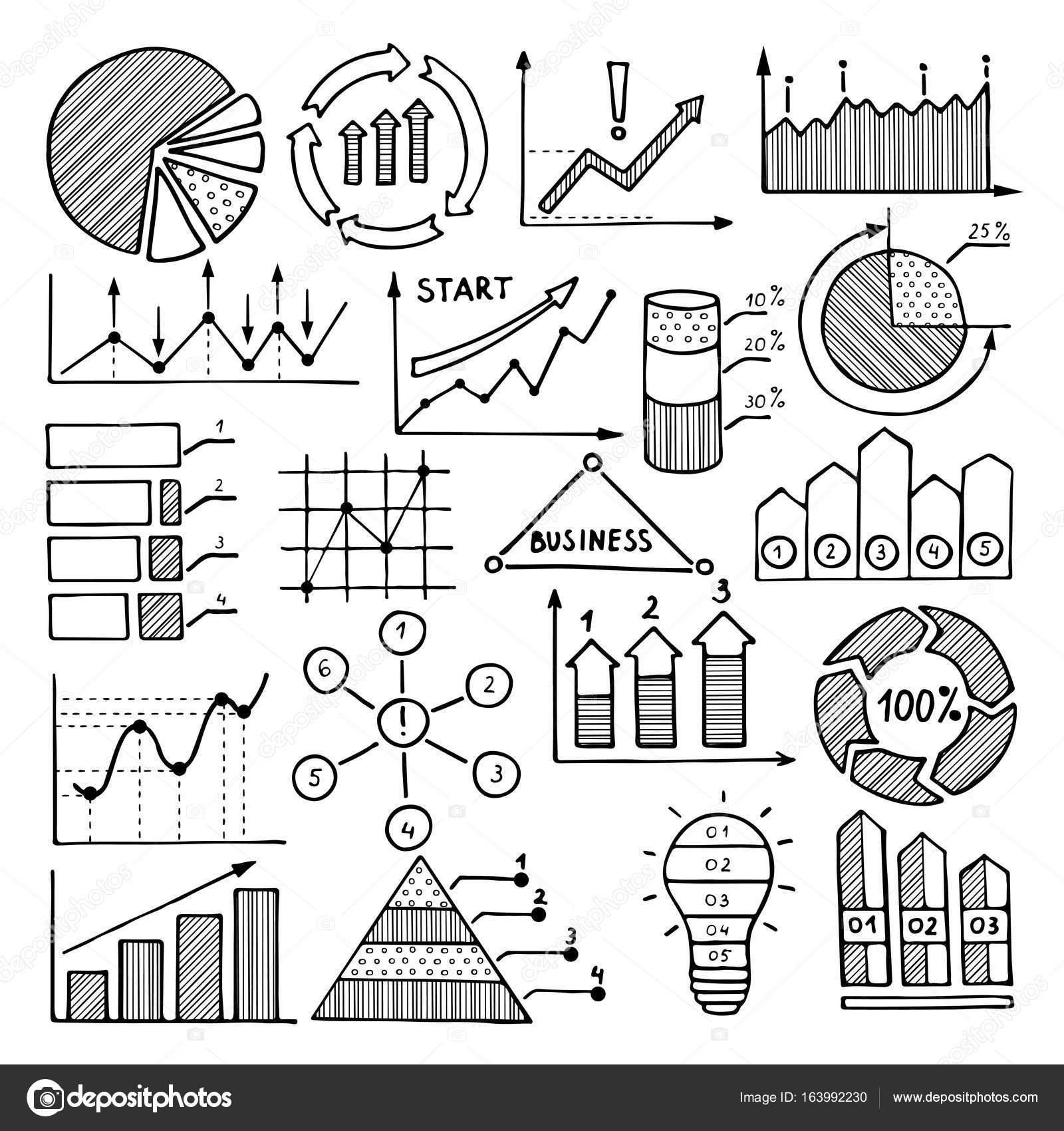 Geschäft Abbildungen von Diagrammen, Grafiken und andere Elemente ...