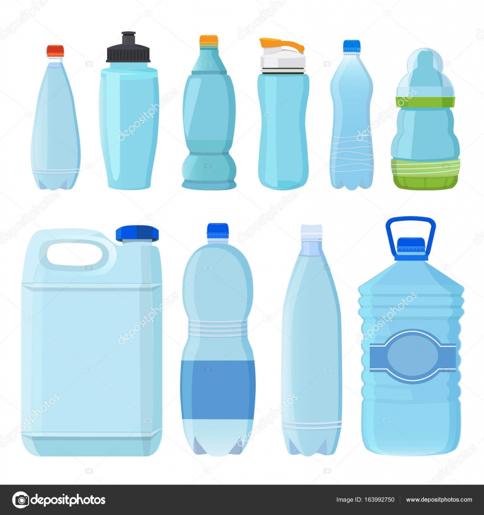 Plastic bottles for water of different types and sizes for Different type of water