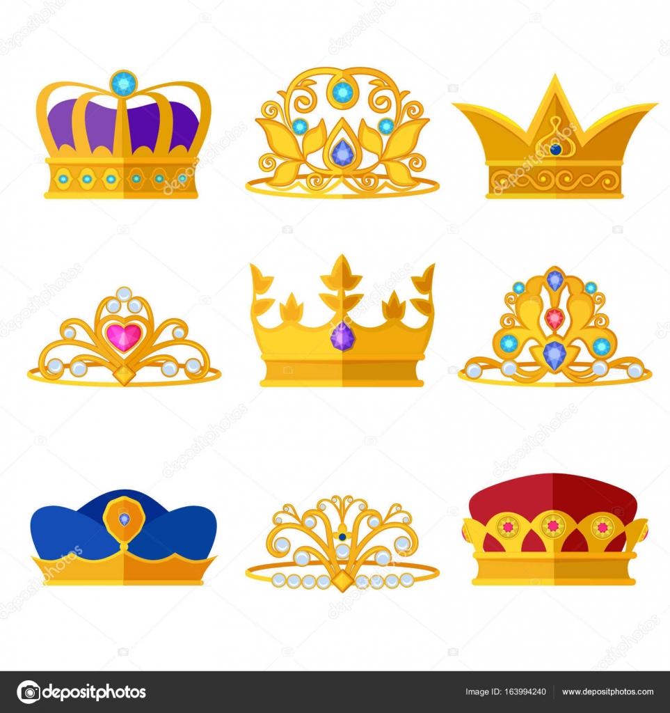 Diademas De Princesa Y Coronas De Oro De Los Reyes Y Reinas Vector