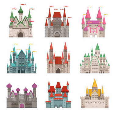 Fairytale old medieval castles or palaces with towers. Vector pictures in cartoon style