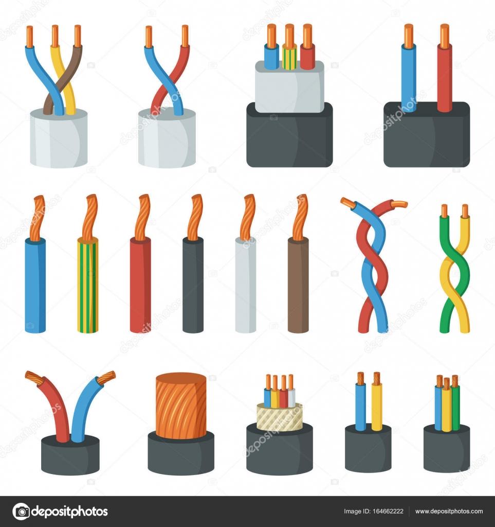 Elektrische Drähte, unterschiedliche Stromstärke und Farben. Vektor ...