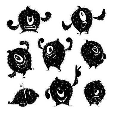 Character of funny monster in different action poses. Devil cute smile. Monochrome illustrations