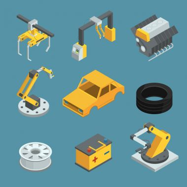 Car factory. Different technic for manufacturing process. Automated machinery line production. Industry robots. Vector isometric illustrations
