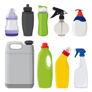 Different types of bottles. Vector pictures in cartoon style