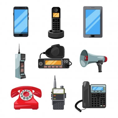 Different telephones, smartphones and other business communication tools. Vector contact symbols