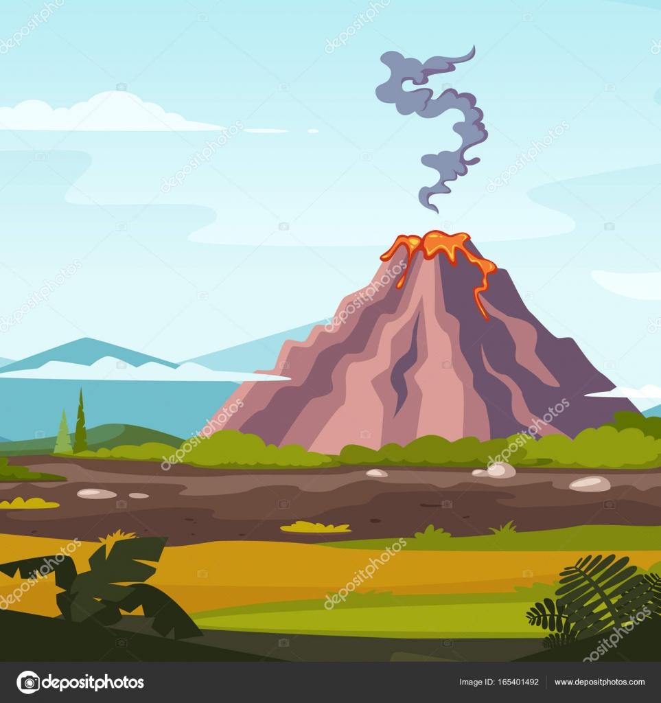 Paisagem Selvagem Com Vulcão E Lava. Desenho De Fundo Para