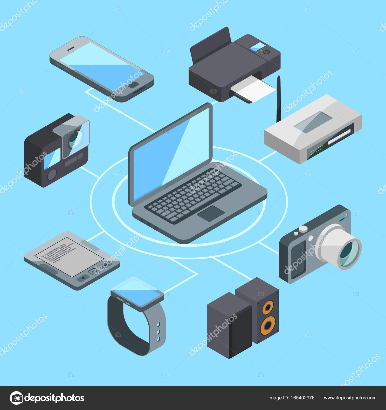 Wlan Oder Wifi Verbindung In Der Nhe Von Laptop Und Andere Computer Wireless Modem Diagram Gadgets Router Gadget Computerverbindung Vektor Illustration