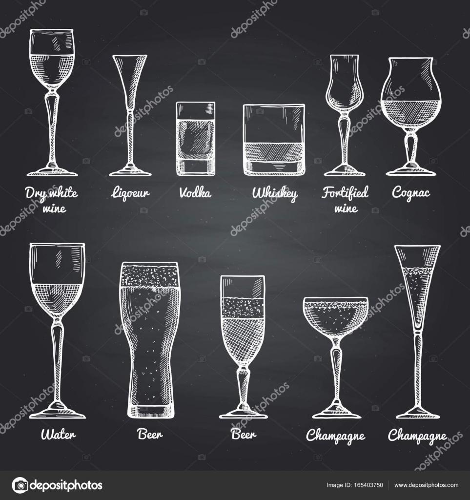 Ilustraciones de vectores de vasos para beber alcohol en for Vasos para bar