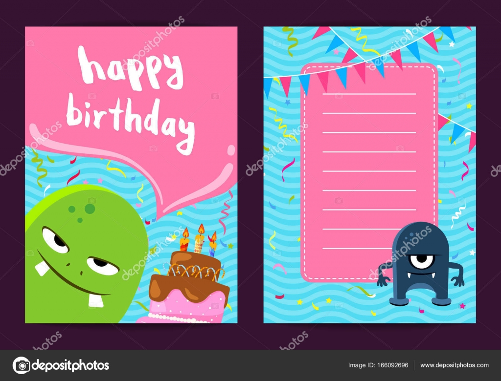Swell Vector Happy Birthday Card Template With Cute Cartoon Monsters Personalised Birthday Cards Bromeletsinfo