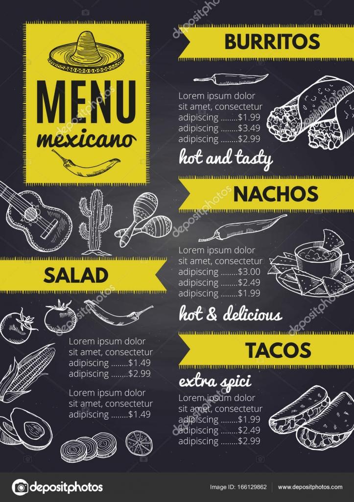 Traditionelle mexikanische Küche. Design-Vorlage der Speisekarte des ...
