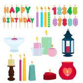 Legrační barevné svíčky pro narozeninovou oslavu. Kreslené vektorové sada