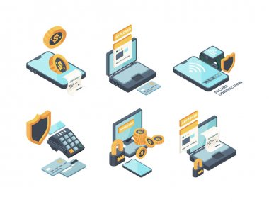 Online payments. Digital banking computer online orders financed connection smartphone wallet and cards vector isometric icons