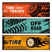 Räder Banner. Reifen auf der Straße Protektor Auto Schmutz Spuren Vektor Grunge-Grafik