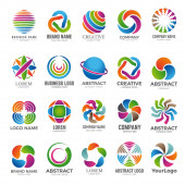 Business globe logo. Advertising abstract round colored shapes graph colored circle elements travel company world vector globe