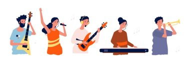 Musicians and singers. People with music instruments. Concert, festival or event persons vector illustration