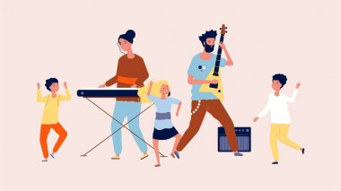Children party. Children dancing in disco. Musicians and funny guys, music festival vector illustration