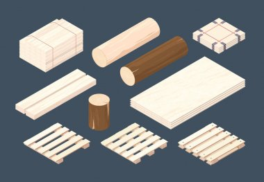 Wooden pallet. Isometric cargo containers and packages timber vector wooden set