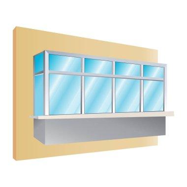glazing of balconies icon, vector illustration
