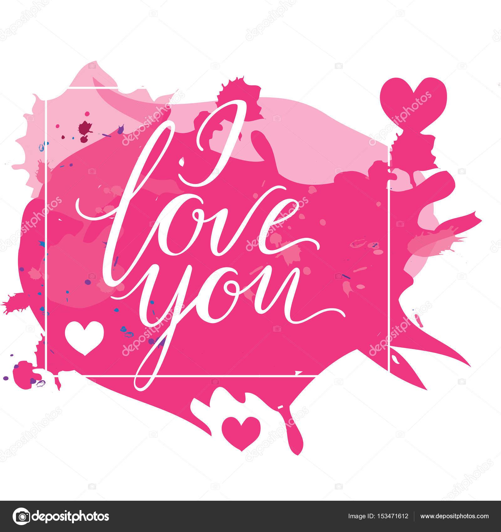 Happy Valentinstag s Karte mit Kalligraphie Schrift ich liebe Sie zu ...
