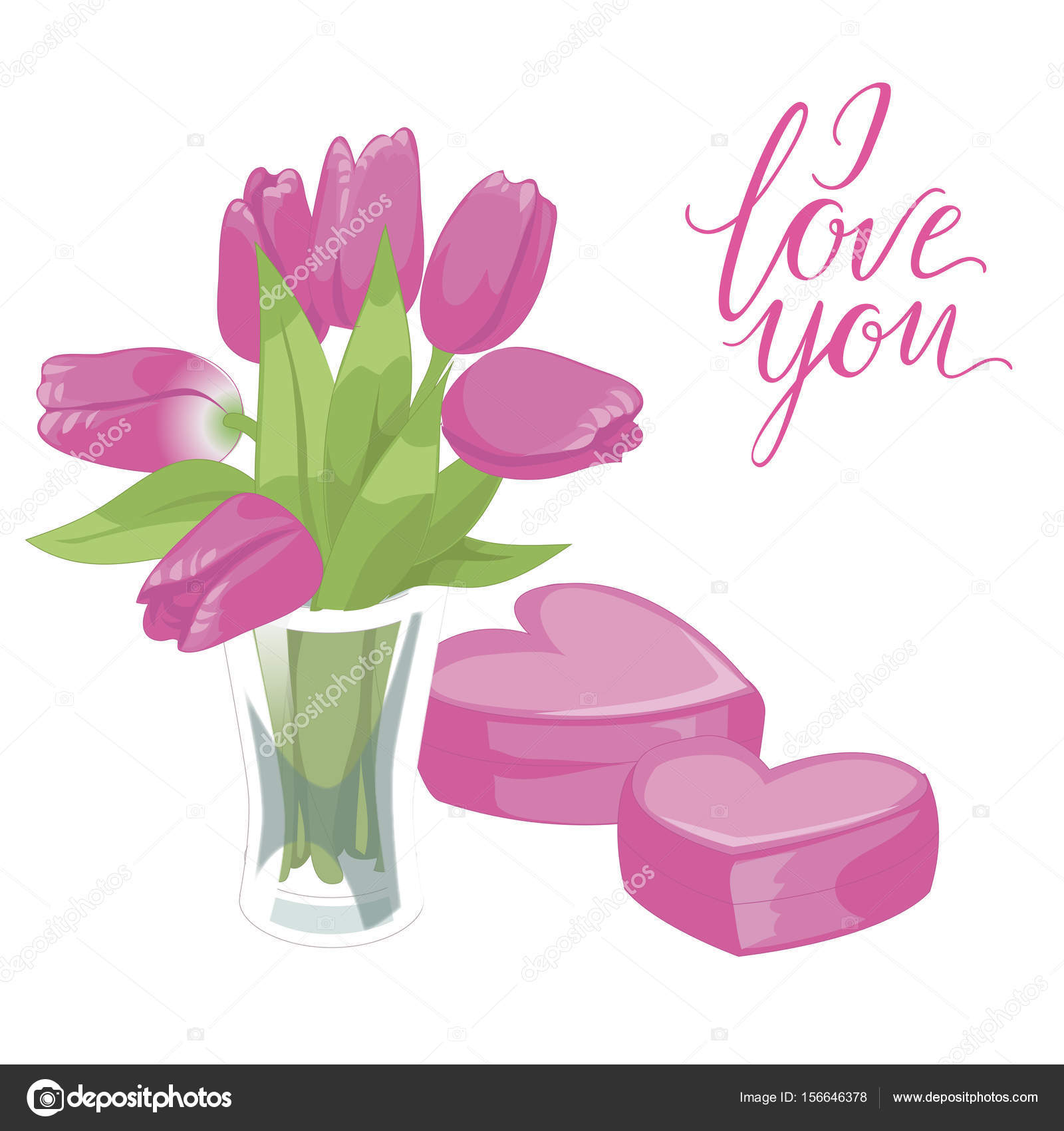Flower Vase And Two Pink Hearts Flower Vase Isolated Icon On White