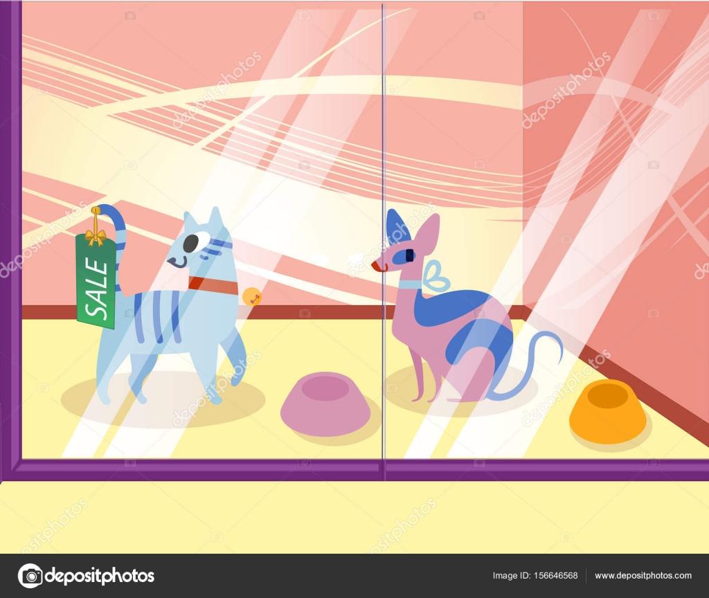 猫とペット ショップのイラストショーケースの中の素敵な漫画動物