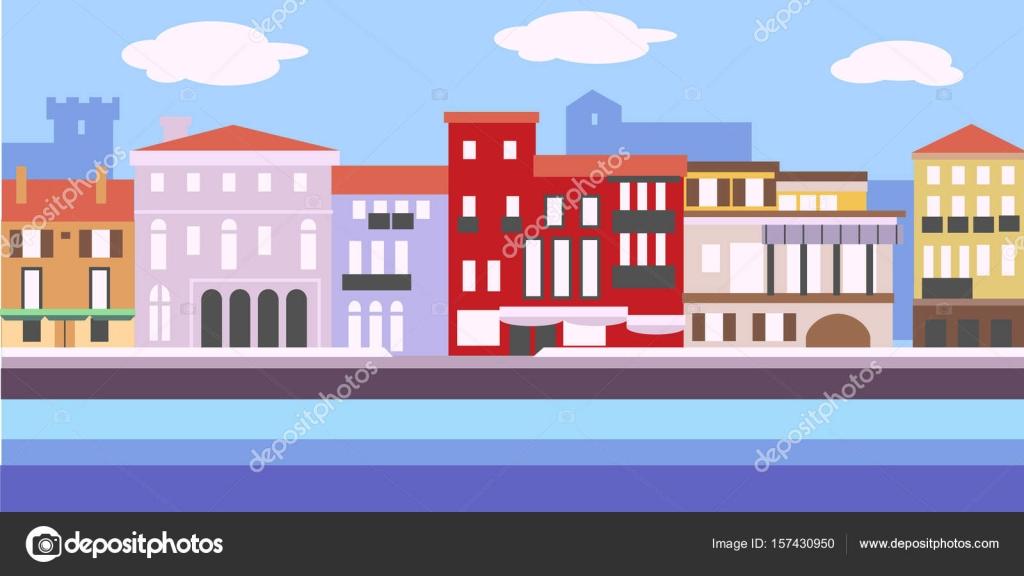 シンプルなスタイルでヨーロッパの街並みのベクター イラストです伝統