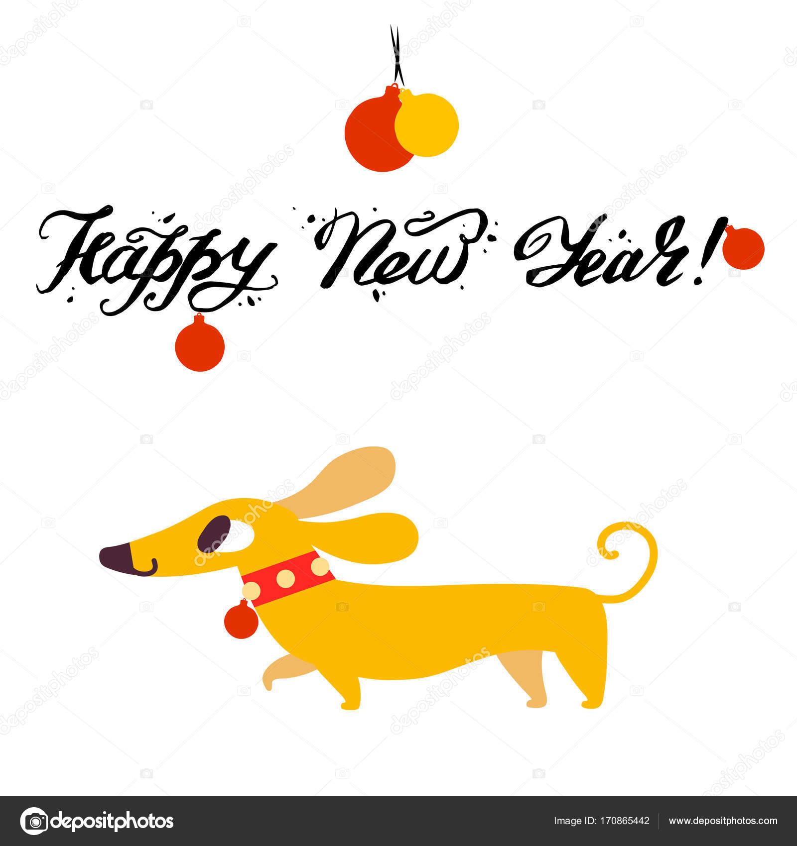 Funny yellow dog symbol of year 2018. Flat style, vector ...