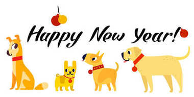 Funny yellow dogs symbol of year 2018. Flat style, vector illustration isolated on a white background. Happy New Year lettering