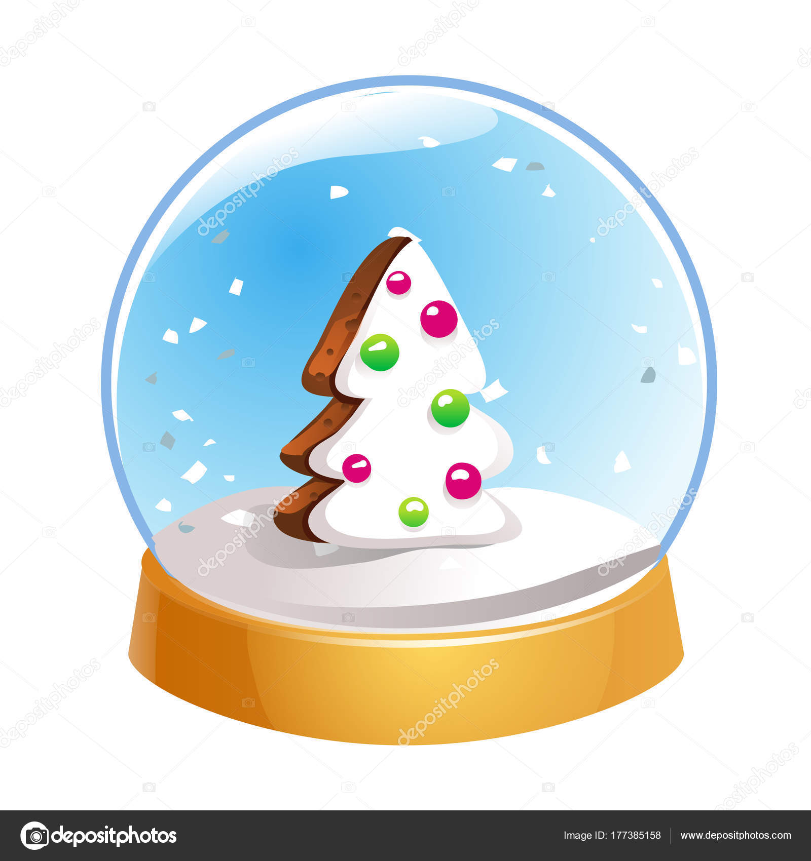 Schneekugel mit Weihnachten Tanne innen isoliert auf weißem ...