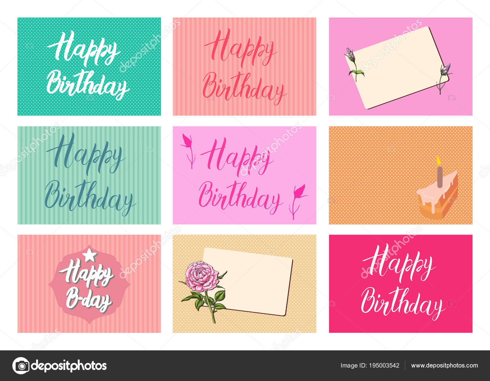 happy birthday calligraphy letters on different backgrounds festive typography vector