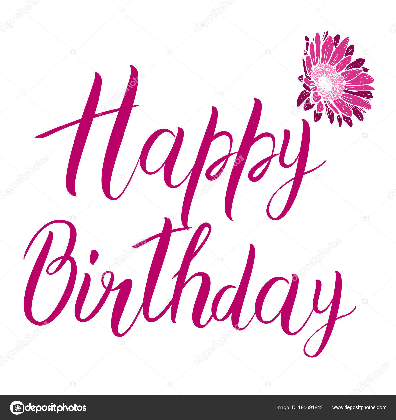 happy birthday pink text isolated on white background festive